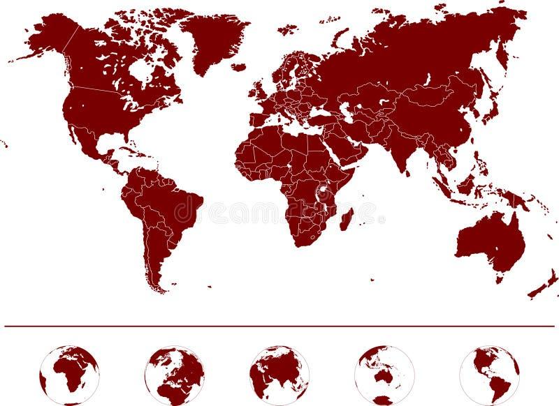 Παγκόσμιος χάρτης - υψηλό λεπτομερές διάνυσμα διανυσματική απεικόνιση