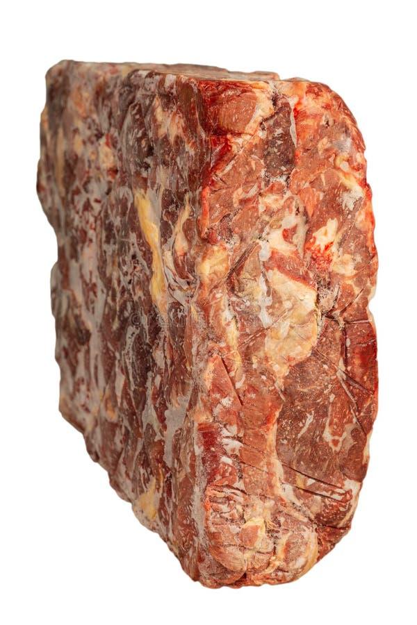Παγωμένος φραγμός του βόειου κρέατος σε ένα άσπρο υπόβαθρο στοκ φωτογραφία