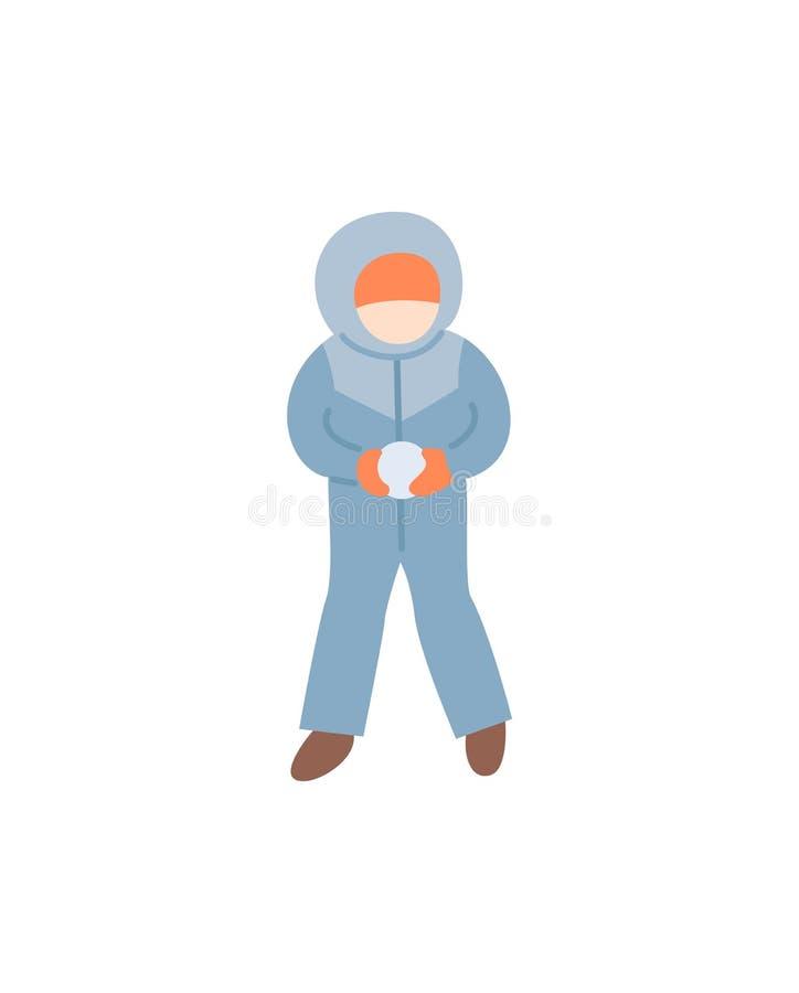 Παιδί που κάνει τη χιονιά στο θερμό διάνυσμα χειμώνας-κοστουμιών απεικόνιση αποθεμάτων