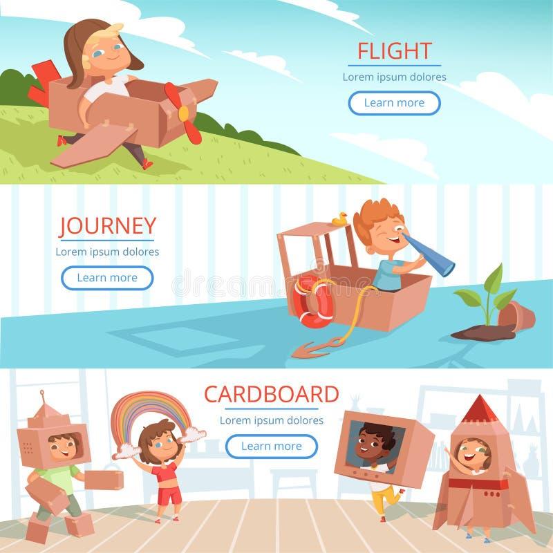 Παιδιά που παίζουν τα εμβλήματα Προσχολικά παιδιά παιχνιδιών εκπαίδευσης στο διανυσματικό πρότυπο κοστουμιών κουτιών από χαρτόνι απεικόνιση αποθεμάτων