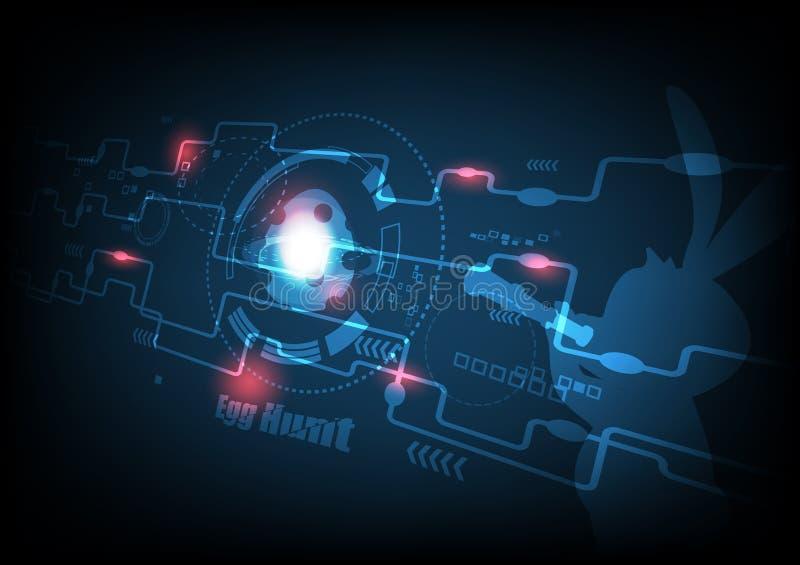 Παιχνίδι Πάσχας, κυνήγι αυγών, ψηφιακή διανυσματική απεικόνιση υποβάθρου τεχνολογίας γραφική αφηρημένη απεικόνιση αποθεμάτων