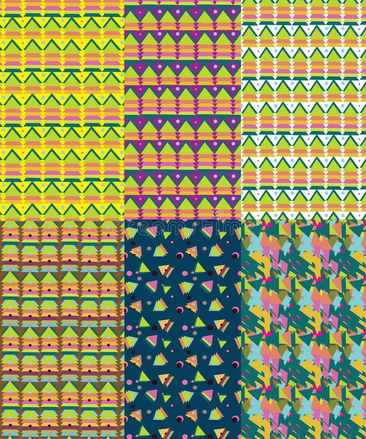 Πακέτο 6 αφηρημένων άνευ ραφής σχεδίων τριγώνων διανυσματική απεικόνιση