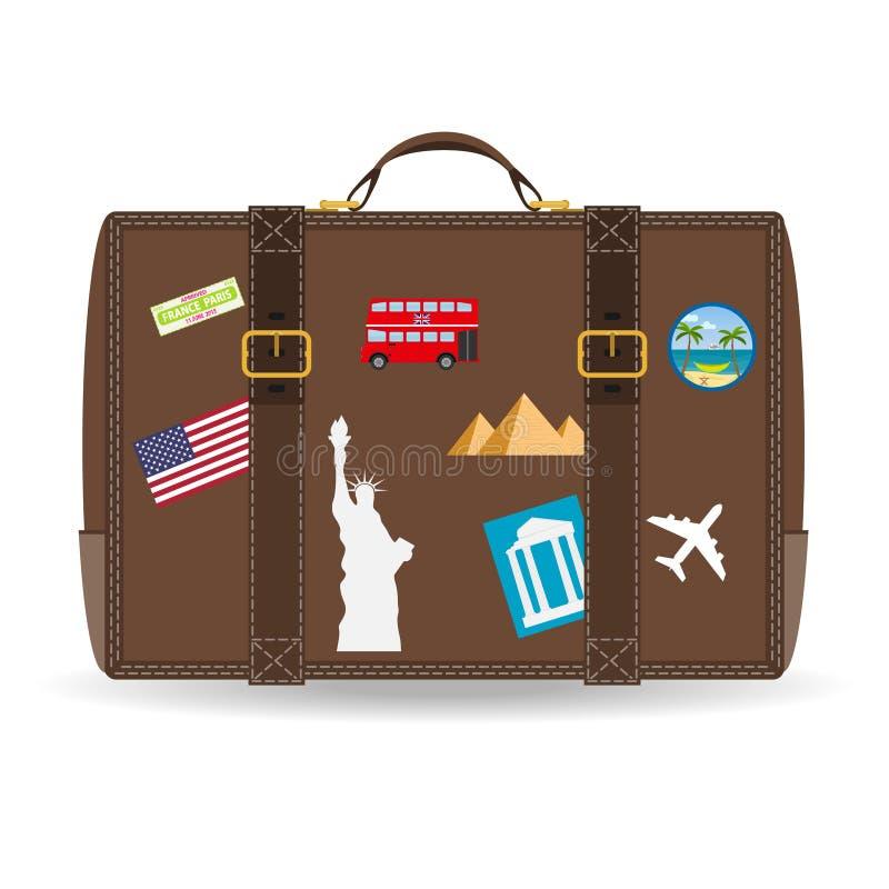 Παλαιά εκλεκτής ποιότητας βαλίτσα δέρματος με τις αυτοκόλλητες ετικέττες ταξιδιού Διανυσματική εικόνα της βαλίτσας ταξιδιού με τα απεικόνιση αποθεμάτων