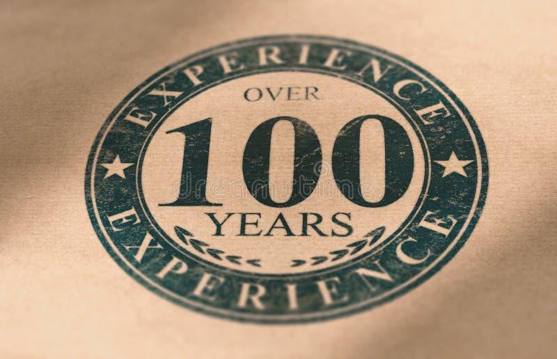 Παλαιά ετικέτα επιχείρησης, πάνω από 100 έτη εμπειρίας στην επιχείρηση απεικόνιση αποθεμάτων