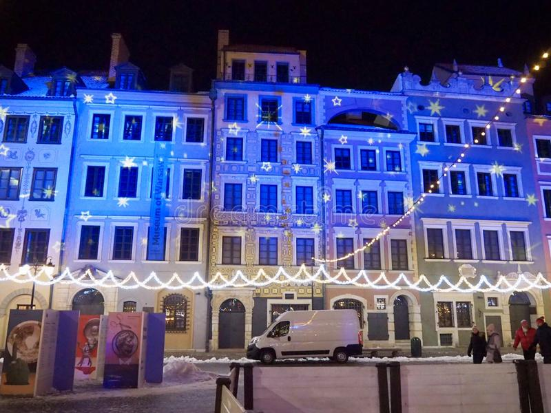 Παλαιά πόλη της Βαρσοβίας, χειμερινοί φωτισμοί στοκ εικόνα με δικαίωμα ελεύθερης χρήσης