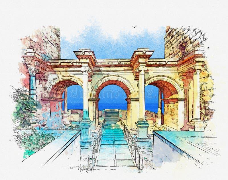 Παλαιά πόλη Kaleici, Antalya, Τουρκία Σκίτσο Watercolor ελεύθερη απεικόνιση δικαιώματος