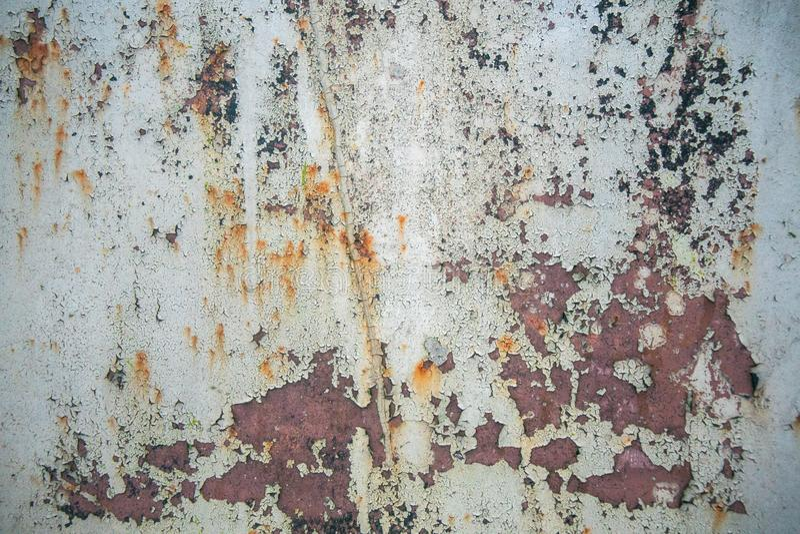 Παλαιό διαβρωμένο υπόβαθρο τοίχων μετάλλων με το λεπιοειδές γκρίζο χρώμα Σκουριασμένη λεπιοειδής ραγισμένη επιφάνεια μετάλλων Αφα στοκ φωτογραφία με δικαίωμα ελεύθερης χρήσης