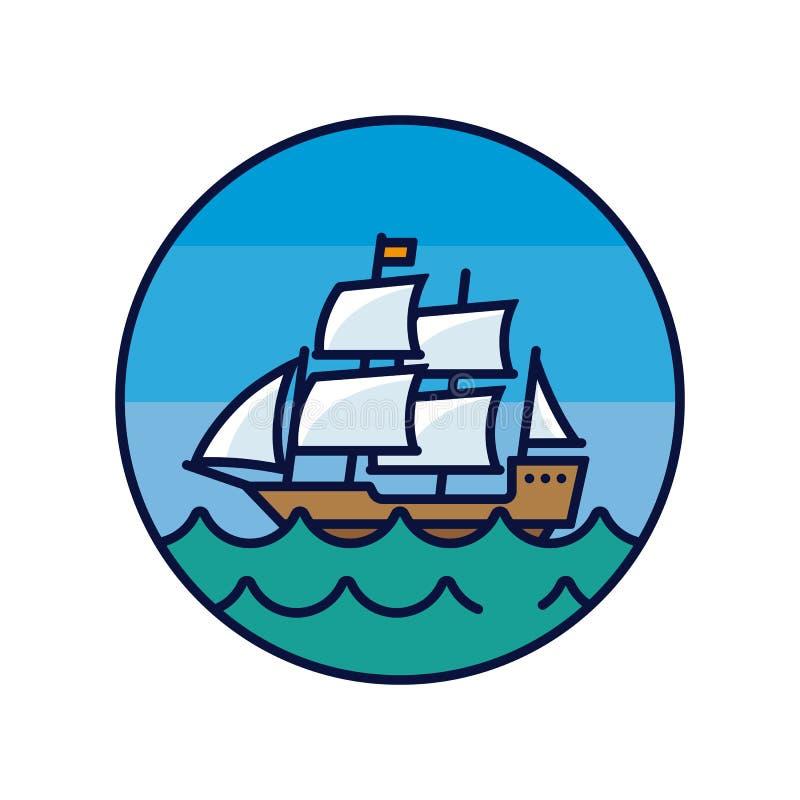Παλαιό σκάφος πανιών γύρω από το εικονίδιο χρώματος απεικόνιση αποθεμάτων