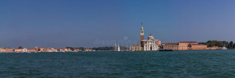 Πανοραμική άποψη της εκκλησίας του SAN Giorgio Maggiore και της ενετικής λιμνοθάλασσας, Ιταλία στοκ φωτογραφία