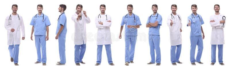 Πανοραμική ομάδα κολάζ ιατρών Απομονωμένος στο λευκό στοκ φωτογραφία