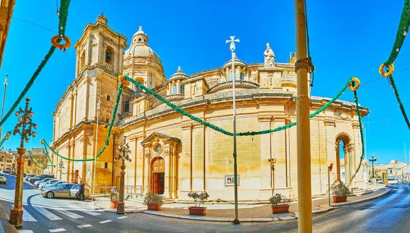 Πανόραμα της εκκλησίας του Άγιου Βασίλη, Siggiewi, Μάλτα στοκ φωτογραφία