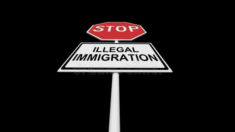 Παράνομη μετανάστευση στάσεων Η απαγόρευση κατά την εισαγωγή σε μια ξένη χώρα ελεύθερη απεικόνιση δικαιώματος