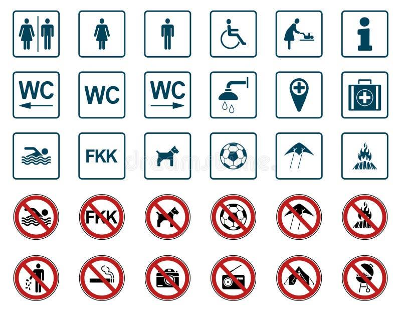 Παραλία - απαγόρευση & προειδοποιητικά σημάδια - Iconset απεικόνιση αποθεμάτων