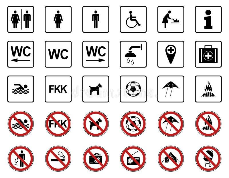 Παραλία - απαγόρευση & προειδοποιητικά σημάδια - Iconset ελεύθερη απεικόνιση δικαιώματος