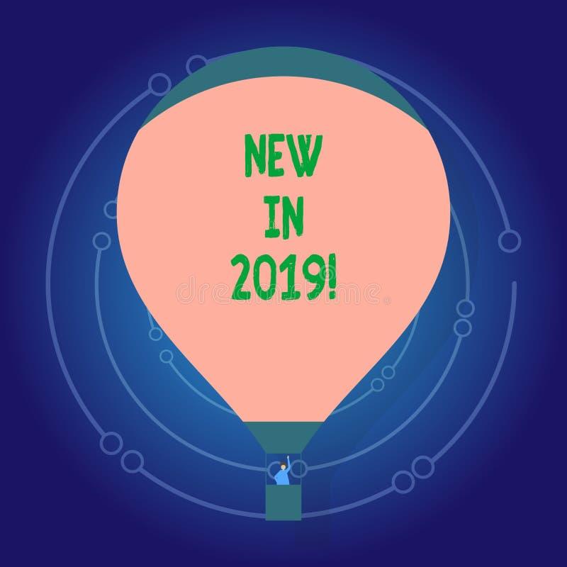 Παρουσίαση σημαδιών κειμένων νέα το 2019 Εννοιολογικό ψήφισμα έτους φωτογραφιών επερχόμενο που διαφημίζει το νέο προϊόν Specs διανυσματική απεικόνιση