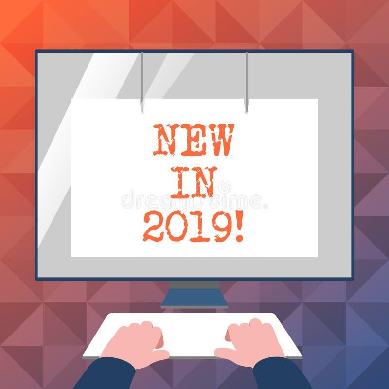 Παρουσίαση σημαδιών κειμένων νέα το 2019 Εννοιολογικό ψήφισμα έτους φωτογραφιών επερχόμενο που διαφημίζει το νέο προϊόν Specs απεικόνιση αποθεμάτων