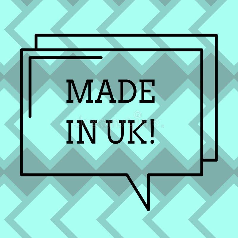 Παρουσίαση σημαδιών κειμένων που κατασκευάζεται στο UK Η εννοιολογική φωτογραφία κάτι analysisufactured στην Ηνωμένη βρετανική πα στοκ εικόνα