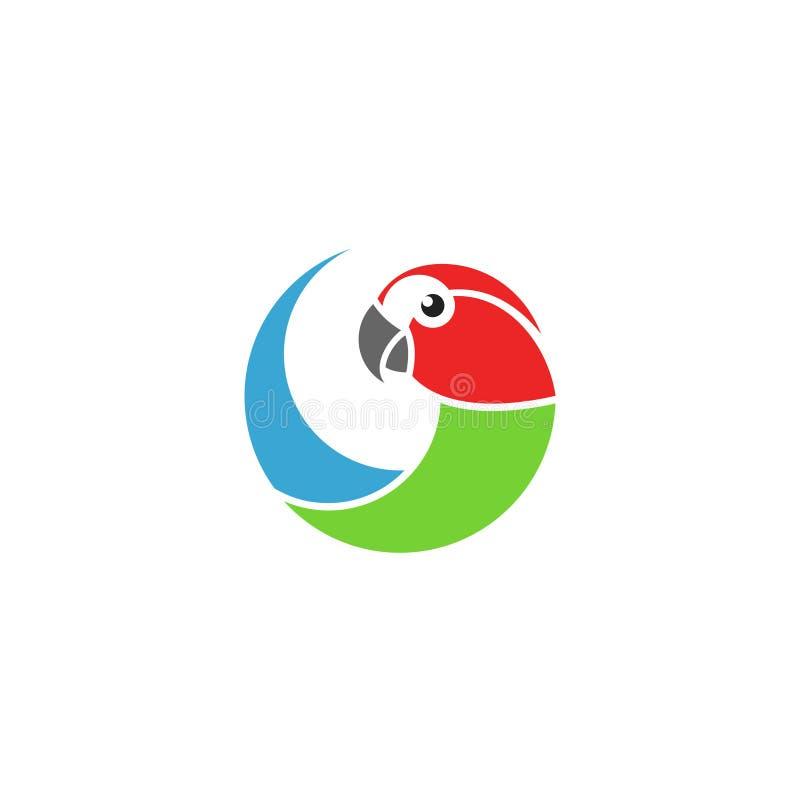 Παπαγάλος Macaw ΛΟΓΟΤΥΠΟ Απομονωμένος παπαγάλος στο άσπρο υπόβαθρο ελεύθερη απεικόνιση δικαιώματος