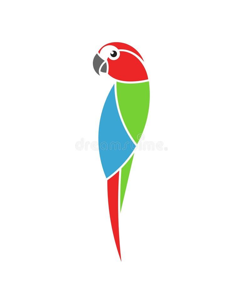 Παπαγάλος Macaw Τροπικό πουλί Απομονωμένος παπαγάλος στο άσπρο υπόβαθρο ελεύθερη απεικόνιση δικαιώματος