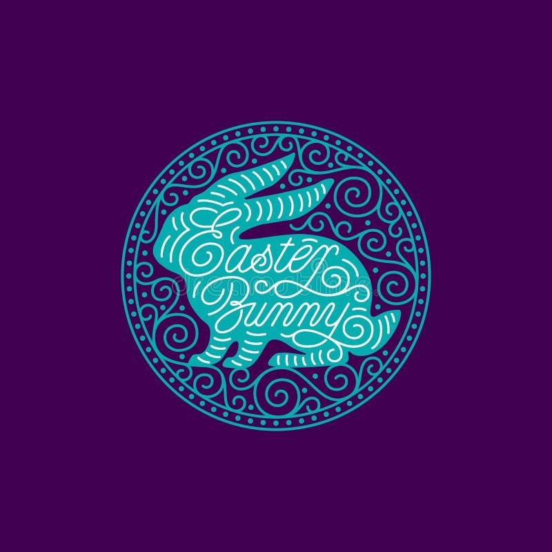 Περίκομψο στρογγυλό πλαίσιο λαγουδάκι Πάσχας διανυσματική απεικόνιση