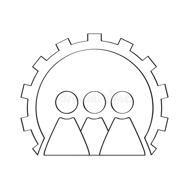 Περίληψη άνθρωποι σε ένα εργαλείο Έννοια ομαδικής εργασίας απεικόνιση αποθεμάτων