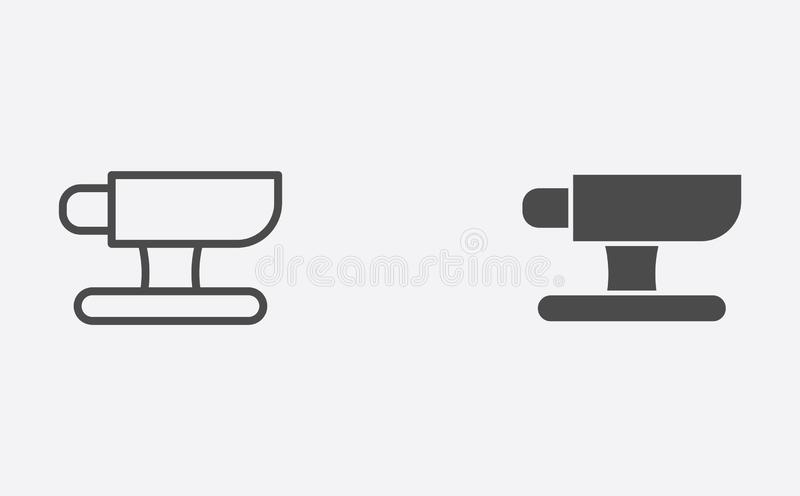Περίληψη αμονιών και γεμισμένο διανυσματικό σύμβολο σημαδιών εικονιδίων ελεύθερη απεικόνιση δικαιώματος