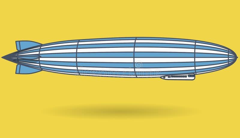 Περιγραμμένο τεράστιο αεροσκάφος zeppelin που γεμίζουν με το υδρογόνο Μπλε κίτρινο τυποποιημένο πετώντας μπαλόνι Μεγάλοι dirigibl διανυσματική απεικόνιση