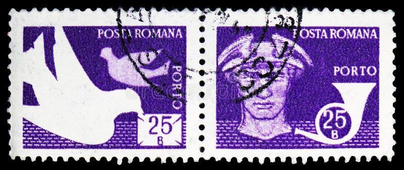 Περιστέρια  Υδράργυρος και Posthorn, ταχυδρομείο και τηλεπικοινωνίες IV serie, circa 1982 στοκ φωτογραφία με δικαίωμα ελεύθερης χρήσης