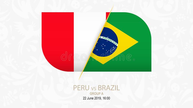 Περού εναντίον της Βραζιλίας, ομάδα Α ανταγωνισμού ποδοσφαίρου απεικόνιση αποθεμάτων
