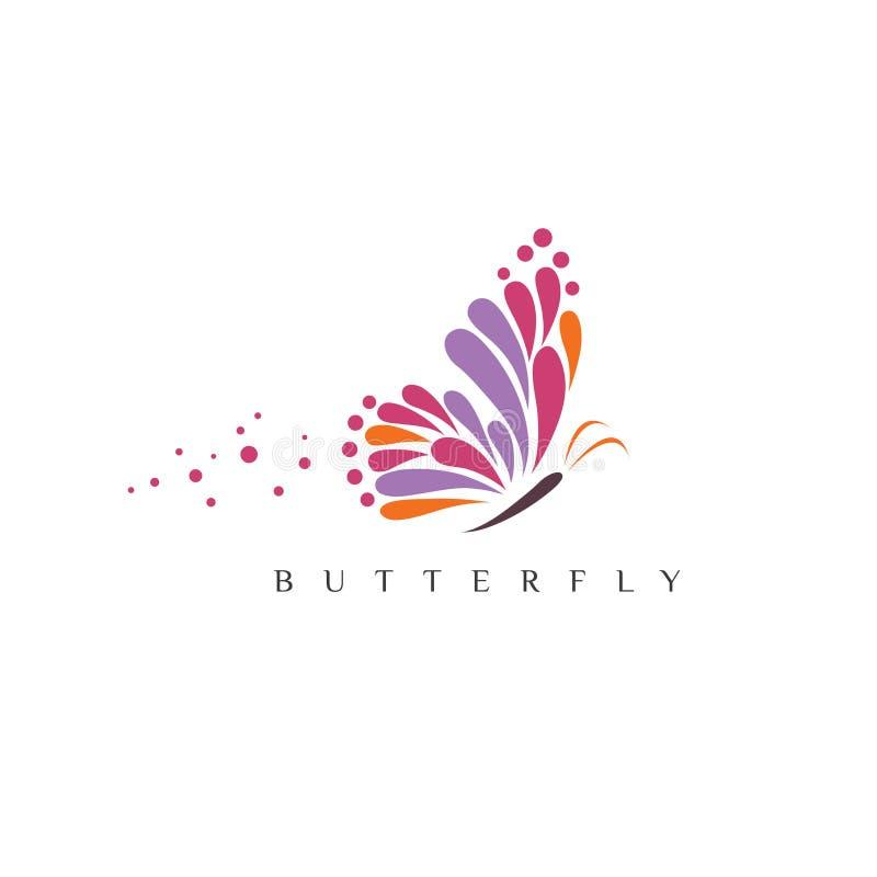 Πεταλούδα Λογότυπο για το σαλόνι ομορφιάς με τη ζωηρόχρωμη πεταλούδα και την πεταλούδα κειμένων διανυσματική απεικόνιση
