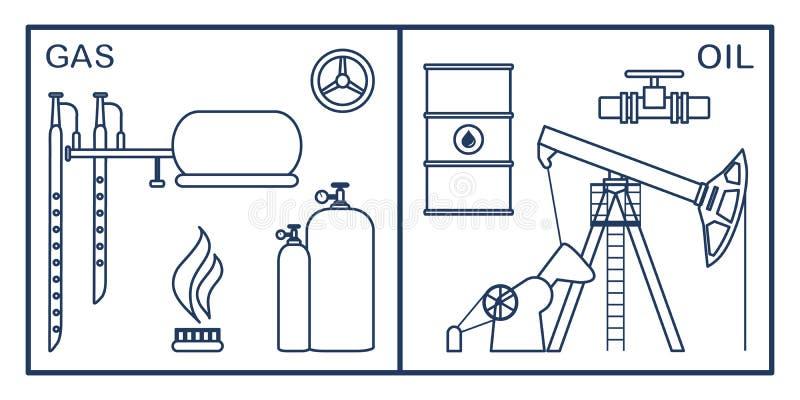 Πετρέλαιο, εξοπλισμός βιομηχανίας φυσικού αερίου Εξαγωγή, αποθήκευση ελεύθερη απεικόνιση δικαιώματος