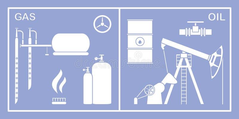 Πετρέλαιο, εξοπλισμός βιομηχανίας φυσικού αερίου Εξαγωγή, αποθήκευση διανυσματική απεικόνιση