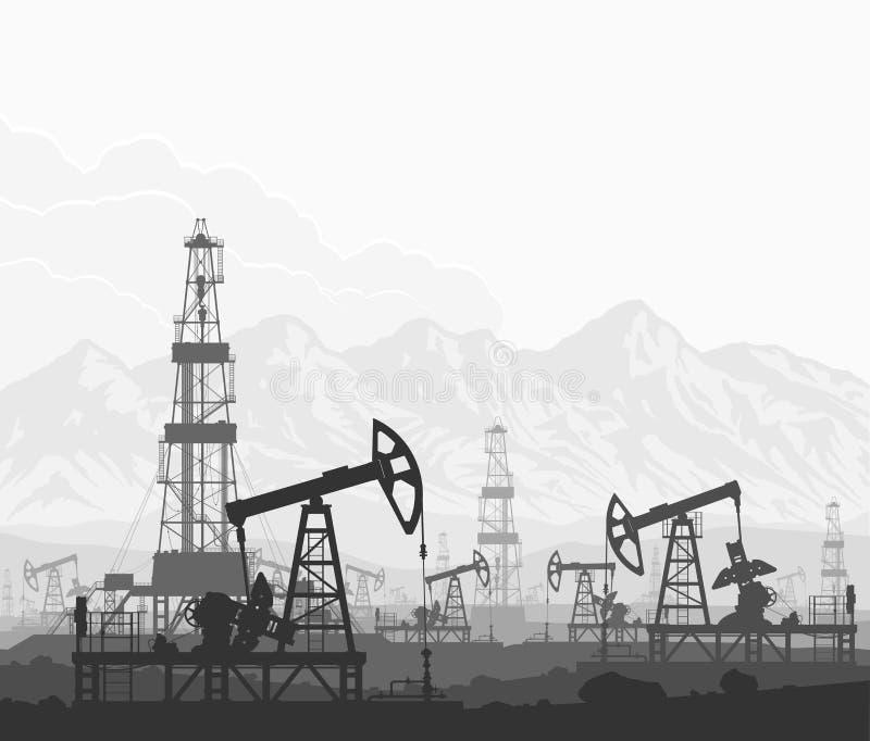 Πετρελαιοφόρος περιοχή αντλιών και εγκαταστάσεων γεώτρησης πετρελαίου συνολικά ελεύθερη απεικόνιση δικαιώματος