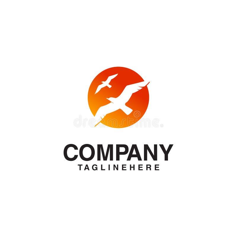 Πετώντας λογότυπο ήλιων πουλιών διανυσματική απεικόνιση