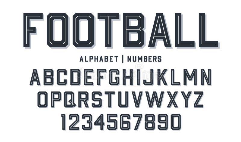 Πηγή αθλητικού ύφους Πηγή ύφους ποδοσφαίρου με τις γραμμές μέσα Αθλητικοί επιστολές και αριθμοί ύφους για την εξάρτηση ποδοσφαίρο απεικόνιση αποθεμάτων