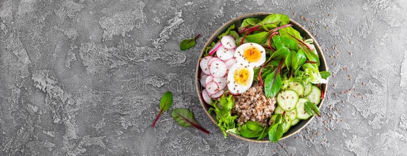 Πιάτο κύπελλων του Βούδα με το κουάκερ φαγόπυρου, βρασμένο αυγό, σαλάτα φρέσκων λαχανικών των φύλλων ραδικιών, αγγουριών, μαρουλι στοκ εικόνα