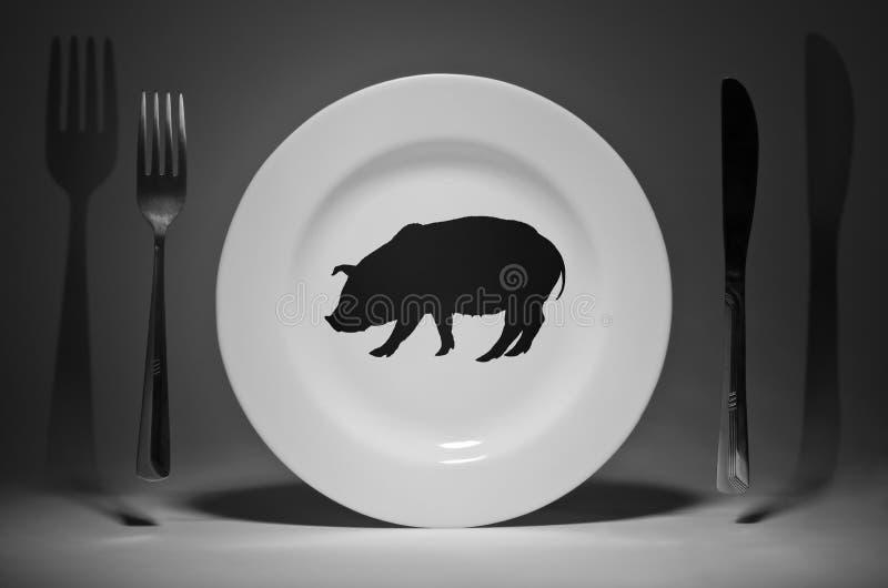 Πιάτο με μια εικόνα ενός χοίρου στοκ εικόνες με δικαίωμα ελεύθερης χρήσης