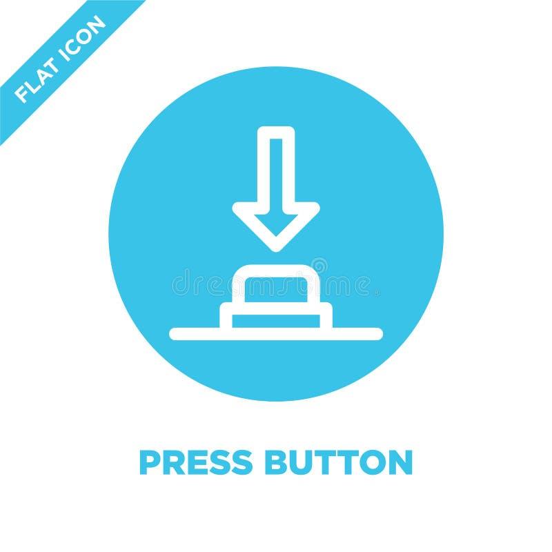 πιέστε το διάνυσμα εικονιδίων κουμπιών Λεπτή διανυσματική απεικόνιση εικονιδίων περιλήψεων κουμπιών Τύπου γραμμών πιέστε το σύμβο διανυσματική απεικόνιση