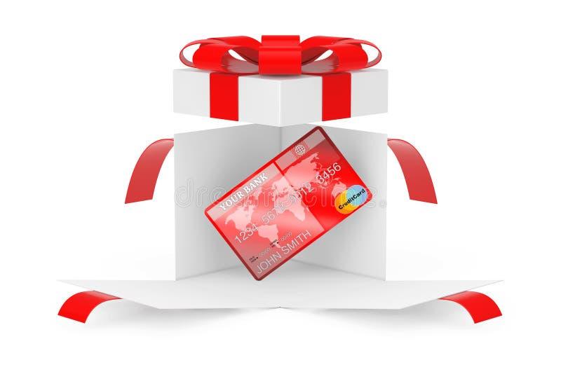 Πιστωτική κάρτα στο ανοιγμένο κιβώτιο αιφνιδιαστικών άσπρο δώρων με την κόκκινα κορδέλλα και το τόξο τρισδιάστατη απόδοση απεικόνιση αποθεμάτων