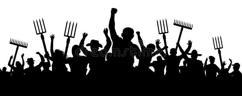 Πλήθος των ανθρώπων με μια τσουγκράνα φτυαριών pitchfork Οι ι αγρότες διαμαρτύρονται την επίδειξη Διανυσματική σκιαγραφία εργαζομ ελεύθερη απεικόνιση δικαιώματος