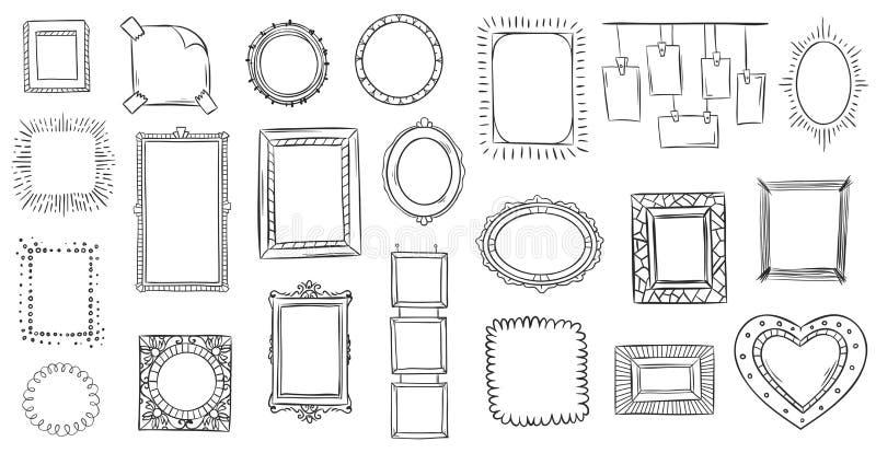 Πλαίσια Doodle Συρμένο το χέρι πλαίσιο, τα τετραγωνικά σύνορα που σκιαγραφήθηκαν doodles και το σκίτσο σχεδίων πλαισίων εικόνων α διανυσματική απεικόνιση