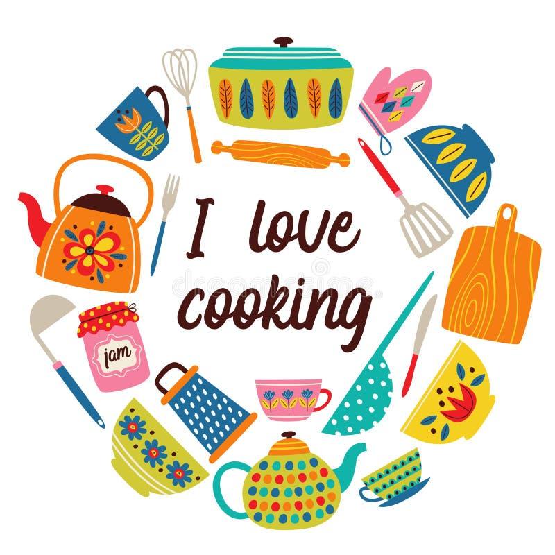 Πλαίσιο με την εκλεκτής ποιότητας κουζίνα διανυσματική απεικόνιση