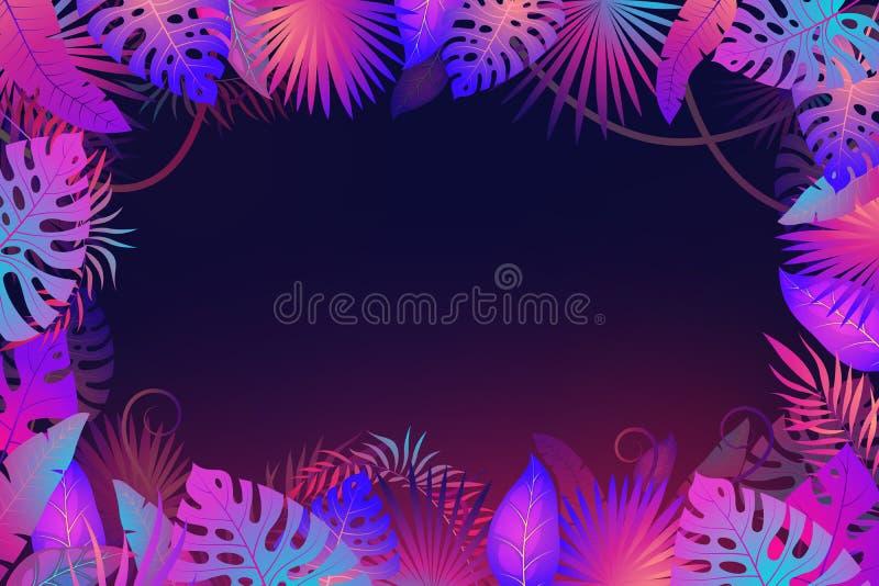 Πλαίσιο φύλλων φοινικών Τα εξωτικά νύχτας φυτά φύλλων ζουγκλών τροπικά floral ανθίζουν το υφαντικό διάνυσμα μόδας εμβλημάτων bota ελεύθερη απεικόνιση δικαιώματος