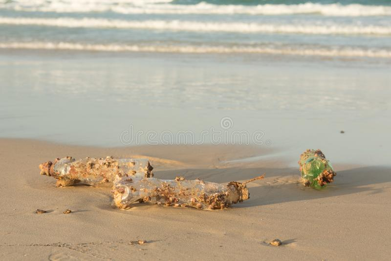 Πλαστική clog προϊόντων φύση όλο και περισσότερο Το πλαστικό μπουκάλι κάλυψε στις λαβίδες θάλασσας και σφουγγίζει τα foulers και  στοκ φωτογραφία