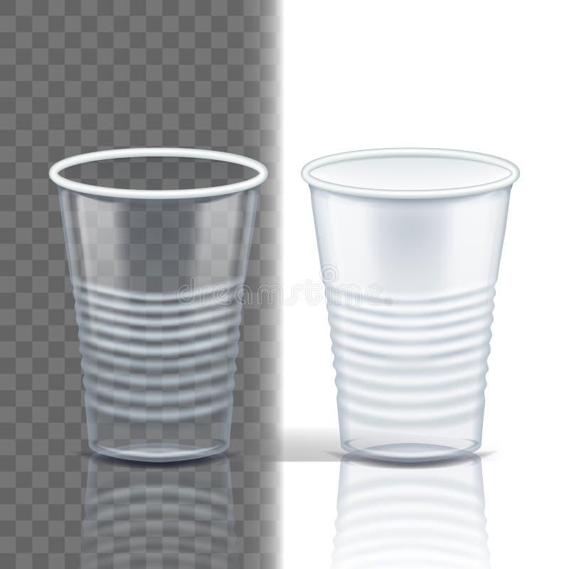 Πλαστικό διαφανές διάνυσμα φλυτζανιών Καφές προτύπων Κούπα ποτών Μίας χρήσης σαφές κενό εμπορευματοκιβώτιο επιτραπέζιου σκεύους Κ διανυσματική απεικόνιση