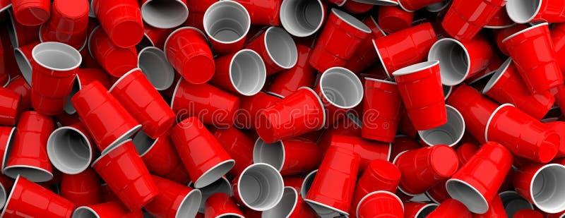 Πλαστικό υπόβαθρο σωρών φλυτζανιών κόκκινου χρώματος μίας χρήσης, σύσταση, έμβλημα τρισδιάστατη απεικόνιση ελεύθερη απεικόνιση δικαιώματος