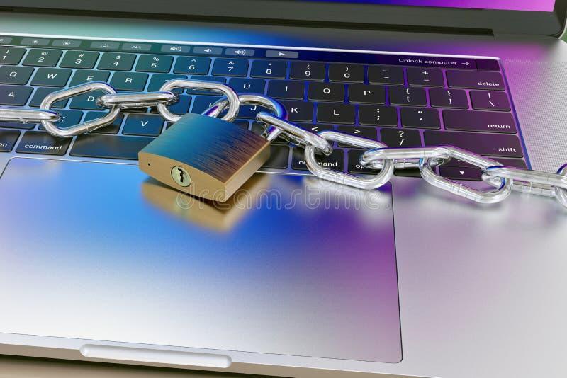 Πληκτρολόγιο υπολογιστών που κλειδώνεται με το λουκέτο και την αλυσίδα - ασφάλεια διανυσματική απεικόνιση