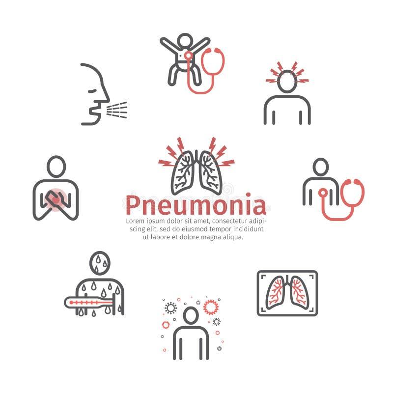πνευμονία Συμπτώματα, επεξεργασία Εικονίδια γραμμών καθορισμένα Διανυσματικό infographics απεικόνιση αποθεμάτων