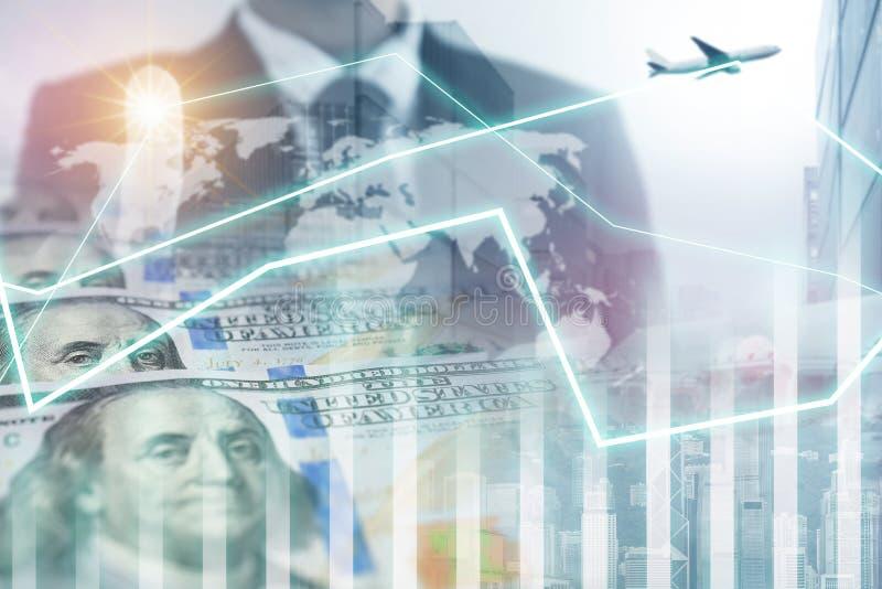Πολλαπλάσια έκθεση γραφικών παραστάσεων επιχειρησιακής αύξησης με το τραπεζογραμμάτιο αμερικανικών δολαρίων και την επιχείρηση γρ στοκ εικόνες