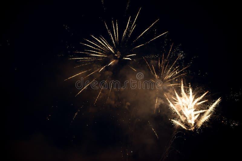Πολλαπλάσια φωτεινή ζωηρόχρωμη έκρηξη πυροτεχνημάτων στον ουρανό στοκ φωτογραφίες με δικαίωμα ελεύθερης χρήσης